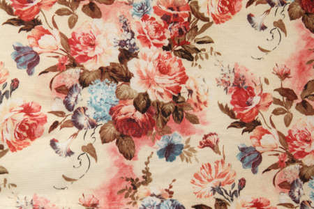 Foto per Vintage red floral fabric - Immagine Royalty Free