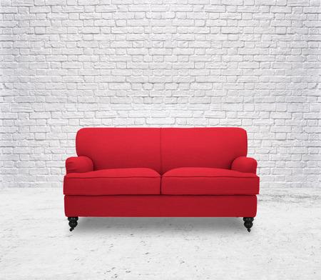 Foto de modern red sofa  in white room brick wall - Imagen libre de derechos