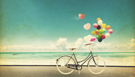 Photo for Paper Card of bicycle vintage with heart balloon on beach blue sky concept of love in summer and wedding honeymoon - Royalty Free Image