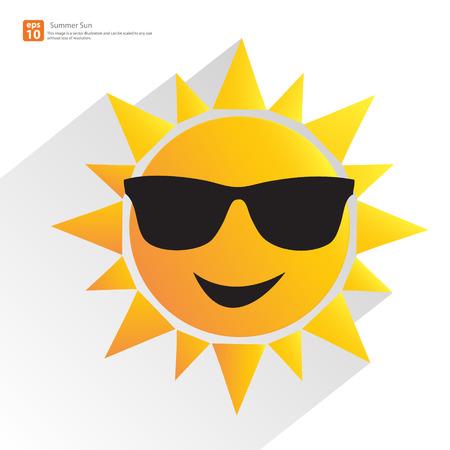 Ilustración de New men orange sun with glasses and shadow vector summer design - Imagen libre de derechos
