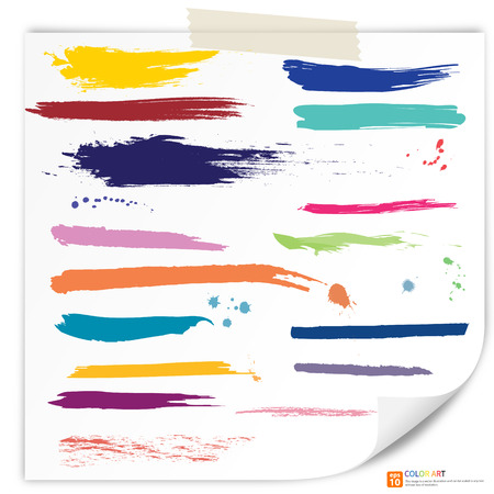 Illustration pour Vector set of colorful grunge brush strokes. Set of watercolor hand paint brush strokes on paper drawing - image libre de droit