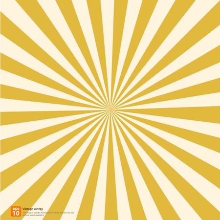 Ilustración de New vector Vintage yellow rising sun or sun ray,sun burst retro background design - Imagen libre de derechos