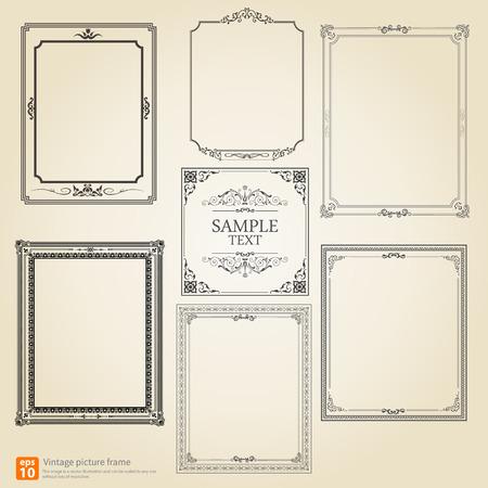 Illustration pour Set of Vintage or Retro picture frame vector design - image libre de droit