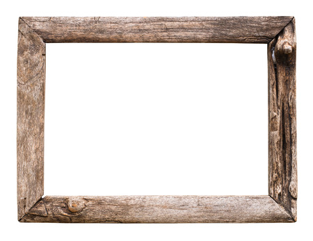 Photo pour old wood picture frame isolate on white - image libre de droit