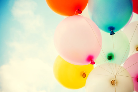 Photo for vintage heart balloon with colorful on blue sky concept of love in summer and valentine, wedding honeymoon - Royalty Free Image