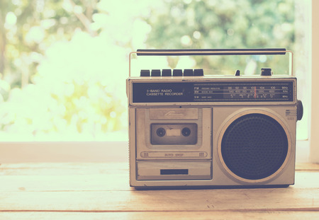 Photo for vintage radio on table nature background - Royalty Free Image