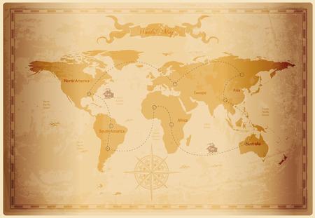 Ilustración de Old World map with vintage paper texture vector format - Imagen libre de derechos