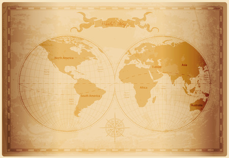 Illustration pour Old World map with vintage paper texture vector format - image libre de droit