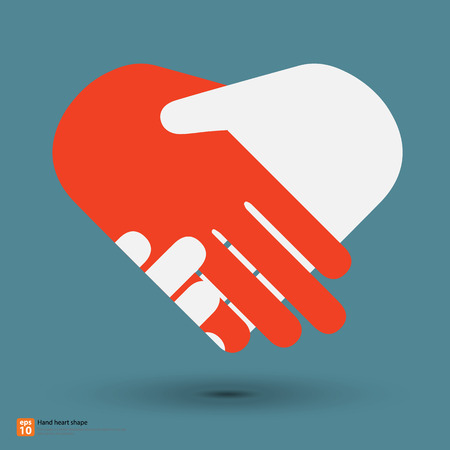 Illustration for handshake for heart shape - Royalty Free Image