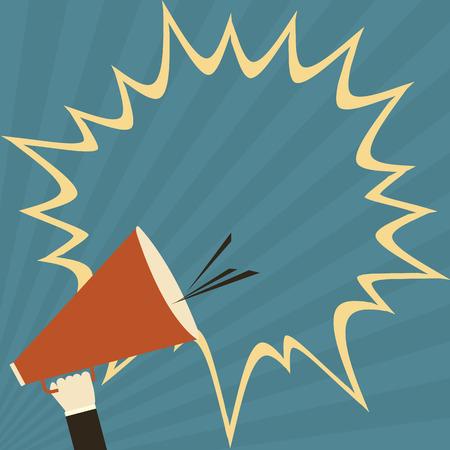 Illustration pour hand holding megaphone for public relations - image libre de droit