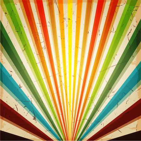 Ilustración de New vector Vintage Multicolor rising sun or sun ray,sun burst retro background design - Imagen libre de derechos