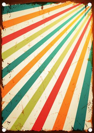 Ilustración de New vector poster vintage Multicolor rising sun or sun ray,sun burst retro background design - Imagen libre de derechos