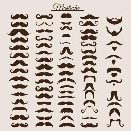 Illustration pour Set of vintage and retro mustache for hipster style design. Illustration - image libre de droit