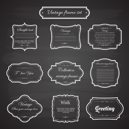 Photo for Vector of vintage frame set on chalkboard retro background. Calligraphic design elements. - Royalty Free Image