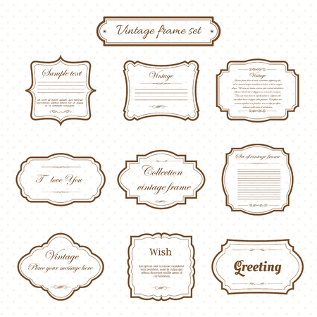 Illustration pour Vector of vintage frame set on pattern retro background. Calligraphic design elements. - image libre de droit