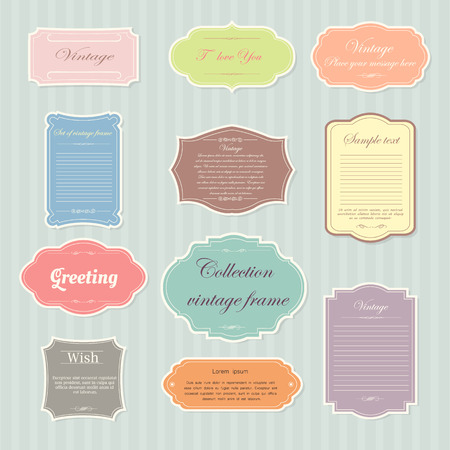 Foto per Vecter of vintage frame set on pattern retro background. Calligraphic design elements. - Immagine Royalty Free