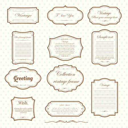 Ilustración de Vecter of vintage frame set on pattern retro background. Calligraphic design elements. - Imagen libre de derechos