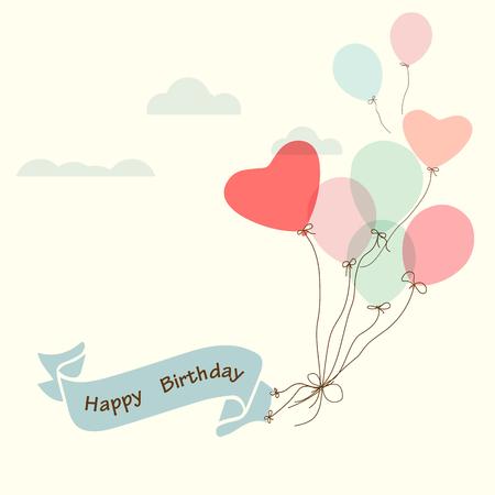 Illustration pour Happy birthday postcard, vintage ribbon with heart balloon - vector design - image libre de droit