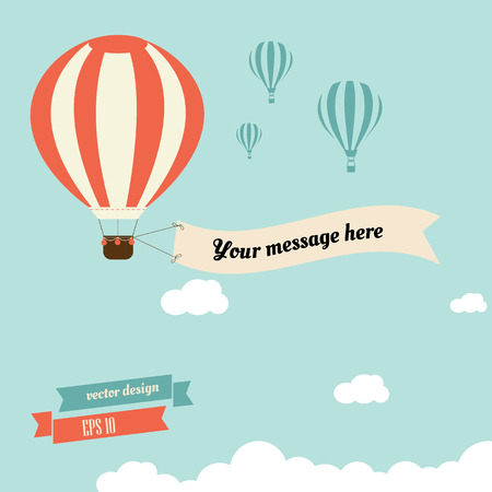 Ilustración de vintage hot air balloon with ribbon for your message - vector design - Imagen libre de derechos