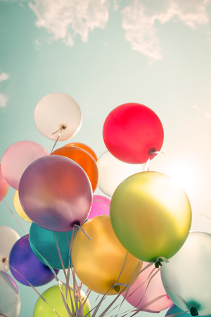 Photo for multicolored balloons of birthday party. - Royalty Free Image