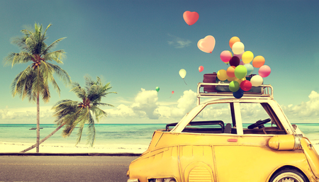 Photo for Vintage yellow car with heart colorful balloon on beach blue sky - concept of love in summer and wedding. Honeymoon trip - Royalty Free Image