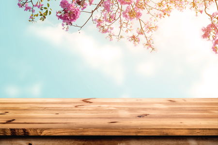 Foto de Top of wood table with pink cherry blossom flower on sky background - Empty ready for your product display or montage. - Imagen libre de derechos