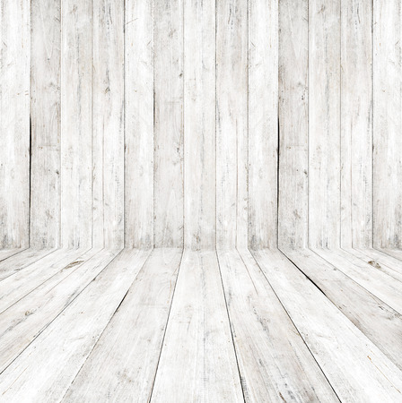 Photo pour Empty a white interior of vintage room - gray wooden wall and old wood floor. Realistic 3d as perfect background for your concept or project. - image libre de droit