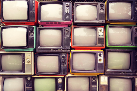 Photo for Pattern wall of pile colorful retro television (TV) - vintage filter effect style. - Royalty Free Image