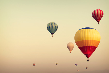 Photo for Hot air balloon on sky with fog, vintage and retro filter effect style - Royalty Free Image