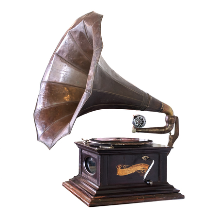 Photo for Vintage gramophone isolate on white with clipping path - retro technology. - Royalty Free Image