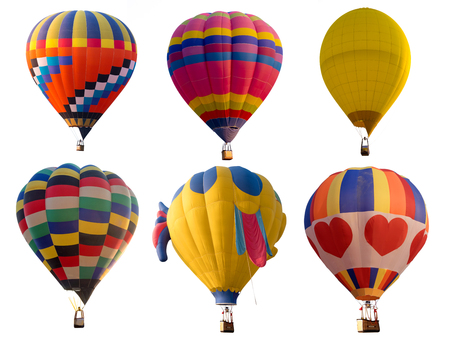 Photo for Set of colorful (multi colors) hot air balloon isolated on white background - Royalty Free Image