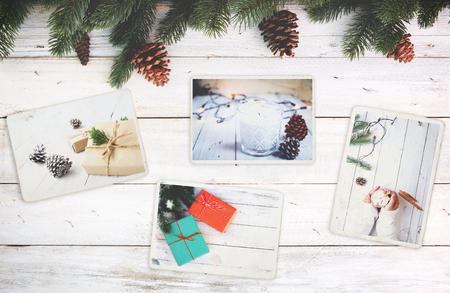 Photo pour Photo album in remembrance and nostalgia in Christmas (winter season) on wood table. photo of retro camera - vintage and retro style, topview - image libre de droit