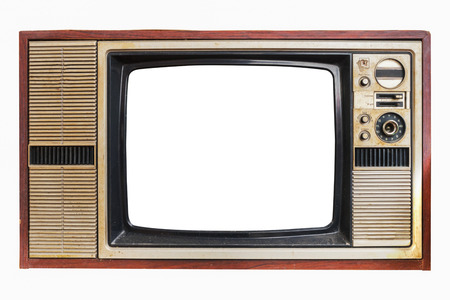 Photo for Vintage television - old TV with frame screen isolate on white with clipping path for object, retro technology - Royalty Free Image