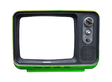 Photo for Retro television - old vintage TV with frame screen isolate on white with clipping path for object, retro technology - Royalty Free Image