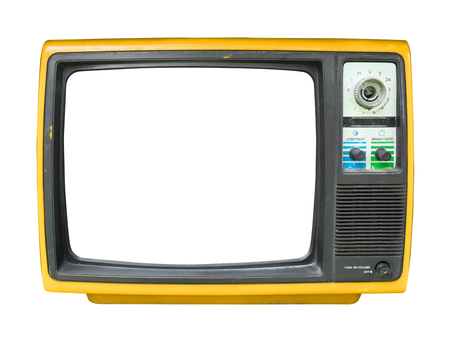 Photo for Retro television - old vintage TV with frame screen isolate on white  for object, retro technology - Royalty Free Image