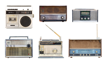 Foto de Collection of vintage retro radio related - clipping path objects isolated on white background. - Imagen libre de derechos
