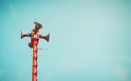 Photo for vintage horn speaker - public relations sign and symbol. vintage color tone effect - Royalty Free Image