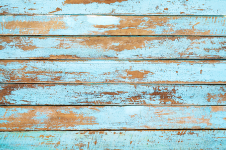Photo for Vintage beach wood background - Old weathered wooden plank painted in blue color. - Royalty Free Image