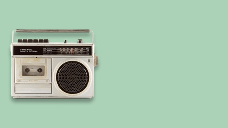 Photo for Radio cassette recorder and player on color background. retro technology. flat lay, top view hero header. vintage color styles. - Royalty Free Image
