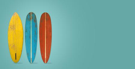 Foto de Vintage surfboard on color background. flat lay, top view hero header. vintage color styles. - Imagen libre de derechos