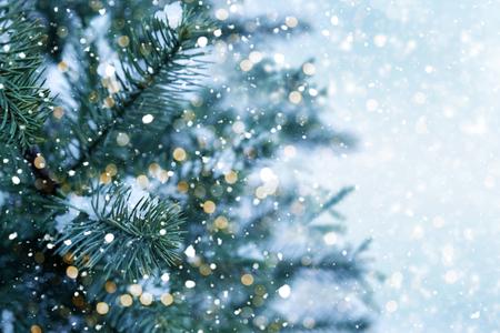 Foto de Closeup of Christmas tree with light, snow flake. Christmas and New Year holiday background. - Imagen libre de derechos
