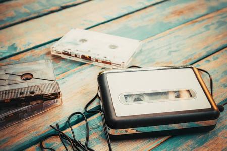 Foto de Vintage cassette player and audio cassette. retro fashion - Imagen libre de derechos