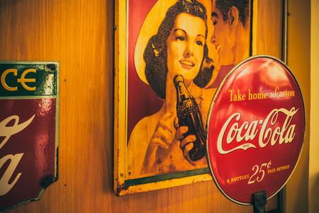 Photo for BANGKOK -THAILAND, February 26,2019 : Old vintage of Coca-Cola logo. on FEB 26,2019 in Bangkok Thailand. - Royalty Free Image