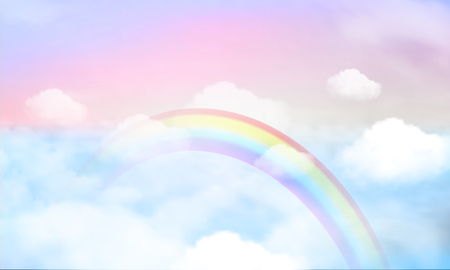 Illustration pour fantasy magical landscape rainbow on sky abstract big volume texture fluffy clouds shine close up view straight, cotton wool, pink purple pastel colors sun fabulous - image libre de droit