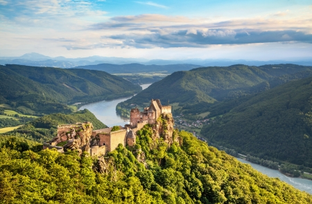 Photo for Beautiful landscape with Aggstein castle ruin and Danube river at sunset in Wachau, Austria - Royalty Free Image