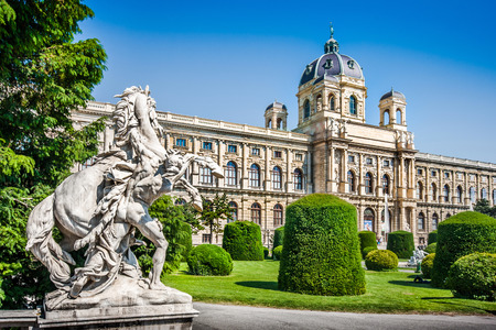 Photo for Beautiful view of famous Naturhistorisches Museum  Natural History Museum  with park and sculpture in Vienna, Austria - Royalty Free Image