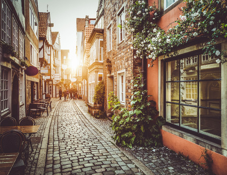 Photo for Old town in Europe at sunset - Royalty Free Image