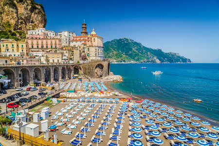Photo for Scenic picture-postcard view of the beautiful town of Atrani at famous Amalfi Coast with Gulf of Salerno, Campania, Italy - Royalty Free Image