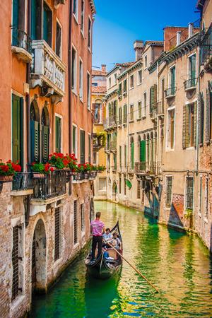 Foto de Beautiful scene with traditional gondola and canal in Venice, Italy - Imagen libre de derechos