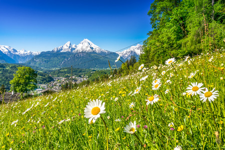 Foto de Panoramic view of beautiful landscape in the Bavarian Alps with famous Watzmann mountain in the background in springtime, Nationalpark Berchtesgadener Land, Bavaria, Germany - Imagen libre de derechos